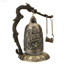 3051 Lucky China Buddhism Temple Brass Carved Statue Lotus Dragon Bell Clock