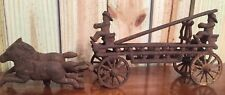 Antique Cast Iron Toy Horse Drawn Fire Truck Hook & Ladder Firemen