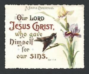 Y10 - VICTORIAN RELIGIOUS SCRIPTURE MOTTO CHRISTMAS CARD