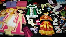Magnetic Doll Lot 110 pcs Dresses Pants Shirts Shoes Accessories Stands -Q+