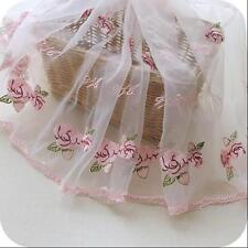 """Pink Rose Flower Embroidered Tulle Organza Fabric For Dress Sewing Crafts 16.5"""""""