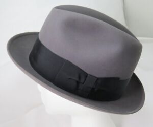 Vintage Marshall Field CAVANAGH NY Gray Felt & Black Band Fedora Hat 7 5/8 NEW
