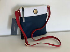 NEW! TOMMY HILFIGER WHITE RED NAVY BLUE NYLON CROSSBODY SLING MESSENGER BAG $78