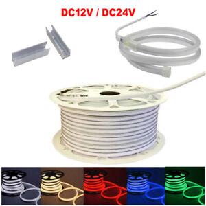 1~100m LED Strip Neon Rope Light DIY 2835 120LED/m Flexible Waterproof DC12V 24V