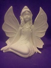 "Side Sitting Fairy 7"" ready to paint ceramic bisque"