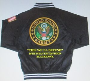 86TH INFANTRY DIVISION* BLACKHAWK* ARMY EMBROIDERED 2-SIDED SATIN JACKET