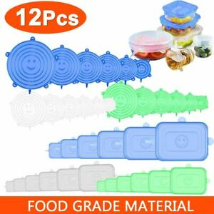 12pcs Reusable Silicone Food Cover Stretch Lids Elastic Adjust Bowl Microwave