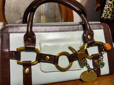 Catwalk Collection Milan Grab Bag Leather Purse Blue and Brown Small Clutch