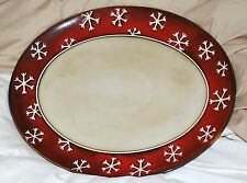 SNOWFLAKE OVAL PLATTER, NEW, STONEWARE, DISHWASHER/MICROWAVE SAFE, PIER 1