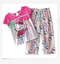 NWT Hello Kitty Girls 4 Pink White 2 Piece Pajama Outfit Set Clothes Pajama