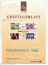 ALLEMAGNE FEDERALE, RFA, 1998, SPORTS, 4 timbres, 1800/1803, DOCUMENT 1° JOUR