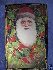 Christmas Wishes Tin Metal Sign Santa Post Card Vintage Look NEW