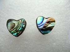 ABALONE SHELL HEART SILVER STUD EARRINGS. 12MM