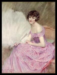 1926 Original French Vintage Print - Portrait Lady with a Fan by H.Royer - FM634