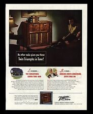 "ORIGINAL 1947 ""ZENITH RADIO-PHONOGRAPH"" FLOOR MODEL ART PRINT AD"