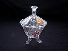 Cut Art Glass Anna Hutte Bleekinstall 24% Lead Crystal Covered Tripod Candy Bowl