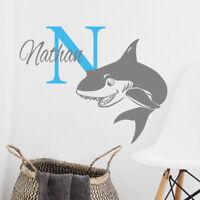 Personalised initial name wall sticker shark girls baby art nursery p16