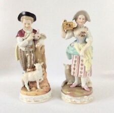Antique Continental German Porcelain Sitzendorf Figurine Shepherd 19th Century