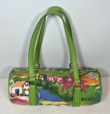 Beach City Scene The Sak Pink Label Multicolor Purse Tote Duffle w/ Green Straps