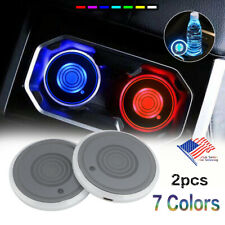 2pc LED 7-Colors Light Changing USB Cup Pads Car Interior Accessories Decoration