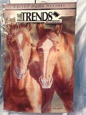 """Horses Double Sided Garden Flag 13"""" x 18 """" FlagTrends #45006 Dura Soft $12.99"""