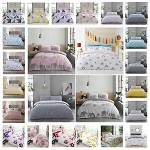 Printed Duvet Cover Set With Pillow cases Single Double King Super King Size