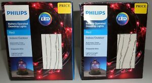 Red LED Battery Operated Lot of 2 Dewdrop Lights w/Timer 60 lights 9.6 ft Wire