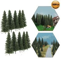 20pcs Model Pine Trees 10cm Deep Green Pines For OO Scale Model Railroad Layout