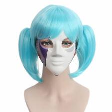 Sallyface Sally Cara pelucas azul corto el pelo pinza colas de caballo Cosplay Disfraz Con Tapa