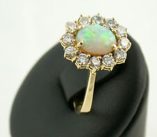 Brillant Ring Gelb Gold 750 Opal brilliant-cut diamonds Brillanten 0,60 ct RW 55