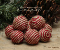 10 Red & Natural Jute/Twine Balls - Bowl Fillers - Ornies
