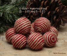 10 Red & Natural Jute/Twine Balls - Bowl Fillers - Ornies