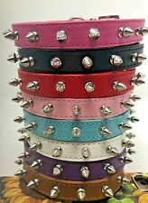 Dog Puppy Pu Leather Collar - Spikes Studded Rivets - 8 Colors - Xs, S, M L