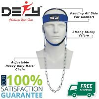 DEFY NYLON WEIGHT LIFTING HEAD HARNESS NECK STRENGTH GYM EXERCISE PADDED Blue