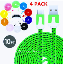 4 PACK 10FT Flat Braided Fast Charge Micro USB Cable Rapid Cord Quick Charger 4x