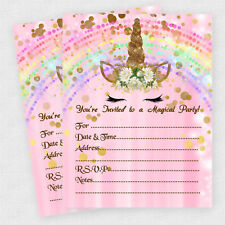Unicorn Birthday Invitations Supplies Slumber Party Pink Gold Qty 30 THICK cards