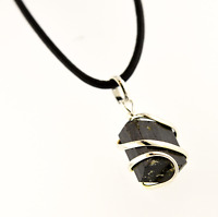Unisex Black Tourmaline Artisan Pendant Necklace Large 20-25mm Leather Cord