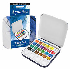 DALER ROWNEY AQUAFINE WATERCOLOUR PAINTS HALF PAN TRAVEL SET OF 24 & BRUSH