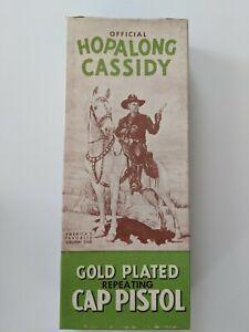 HOPALONG CASSIDY Gold Plated Antique Toy Cap Gun - NEW, Never fired-Original Box