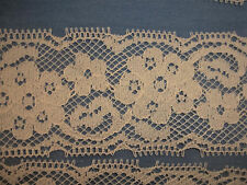 "Vtg Net Lace Trim 8 1/3 yds 2 1/4"" w Insertion Picot Edging Cream Doll Dress"