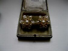 Gold Pearl Earrings Vintage Costume Jewellery