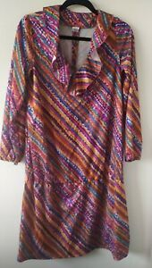 Vintage Maxi Floral Dress Psychedelic 60s 70s Ruffle collar Hippy size 14