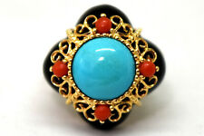 Exqisite 14K Solid Gold, Natural Turquoise, Coral and Onyx Ring Size 6