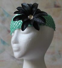 Handmade Headband - Mint Green Stretchy Lace with Black Flower Clip, New