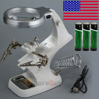 Welding LED Magnifier 3X 4.5X Magnifying Glass Clip Helping Hand Soldering Tool