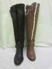 Women's Knee High Block Pull on Synthetic Boots