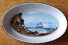 Vintage Nautical Boating Schooner Ship Art Plate Handpainted Porcelain OOAK