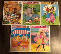 Vintage Frame Tray Puzzle Lot of 5 - Barbie Little Bo peep,jelly jungle,