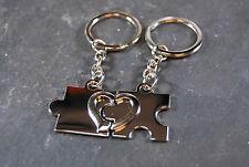 Partner Puzzle rot oder silber glänzend  Schlüsselanhänger + ihrer Wunschgravur