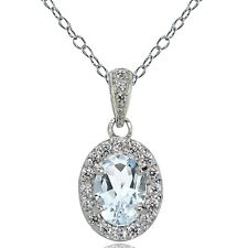 Sterling Silver Aquamarine and White Topaz Oval Halo Necklace